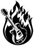 Guitarra y fuego Foto de archivo libre de regalías