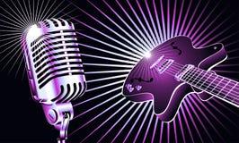 Guitarra y micrófono ilustración del vector