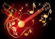 Guitarra y notas musicales Imágenes de archivo libres de regalías