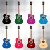 Guitarras acústicas coloreadas Imágenes de archivo libres de regalías