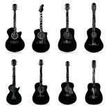 Guitarras aisladas en el fondo blanco Ilustración del vector Imágenes de archivo libres de regalías