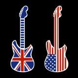 Guitarras británicas y americanas del rock-and-roll Fotos de archivo libres de regalías
