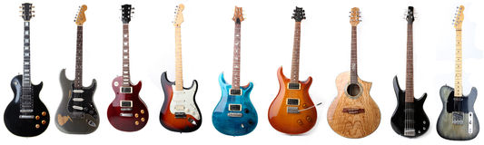 Guitarras eléctricas aisladas Fotografía de archivo libre de regalías