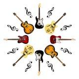 Guitarras eléctricas aisladas en el fondo blanco imagen de archivo