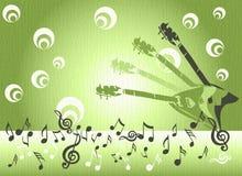 Guitarras y notas musicales Fotografía de archivo