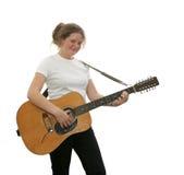 Guitarrista adolescente isolado fotos de stock
