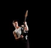 Guitarrista apasionado Foto de archivo libre de regalías