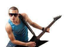 Guitarrista considerável foto de stock