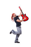 Guitarrista da guitarra acústica que joga detalhes Fotos de Stock