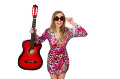 Guitarrista da mulher Fotografia de Stock Royalty Free