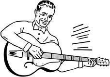 Guitarrista de la guitarra acústica que juega a los detalles Fotografía de archivo