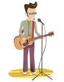 Guitarrista de la guitarra acústica que juega a los detalles Stock de ilustración