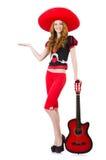 Guitarrista de la mujer Foto de archivo libre de regalías