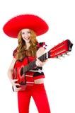 Guitarrista de la mujer con el sombrero Fotografía de archivo