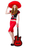 Guitarrista de la mujer con el sombrero Foto de archivo