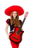 Guitarrista de la mujer con el sombrero Imagen de archivo libre de regalías