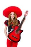 Guitarrista de la mujer con el sombrero Foto de archivo libre de regalías