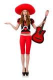 Guitarrista de la mujer con el sombrero Imágenes de archivo libres de regalías