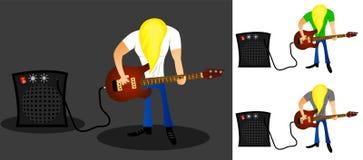 Guitarrista de la roca con el pelo largo y el amplificador que tocan la guitarra libre illustration