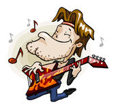 Guitarrista de la roca en etapa. Fotografía de archivo