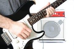 Guitarrista e ampère Imagem de Stock Royalty Free
