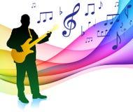 Guitarrista en el vector Illu de SpectrumOriginal del color de la nota musical Imagen de archivo libre de regalías