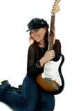Guitarrista lindo fotografia de stock royalty free