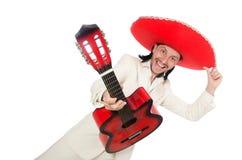 Guitarrista mexicano aislado en blanco Imagen de archivo libre de regalías