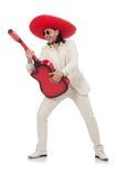 Guitarrista mexicano aislado en blanco Fotografía de archivo libre de regalías