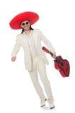 Guitarrista mexicano aislado en blanco Foto de archivo libre de regalías