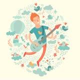 Guitarrista, moderno dos desenhos animados que joga a guitarra em um fundo colorido Imagens de Stock