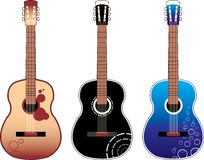 Guitars. Acoustic designed guitars, three versions Royalty Free Stock Photos