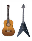 Guitars. Realistic  illustration of classical and electric guitar Stock Images