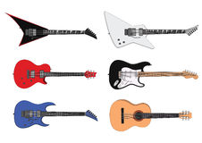 Guitars. Vector illustration of a six stylized guitars.You can resize them and change their color Stock Image