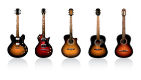 Guitars. Five guitars on a white background Royalty Free Stock Photography