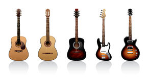 Guitars. Five guitars on a white background Stock Photo