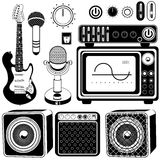 Guitars with amplifier collection Stock Photos