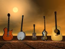 Guitars, banjo and ukulele Royalty Free Stock Images