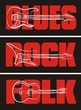 Guitars on the blues, rock and folk background Royalty Free Stock Image