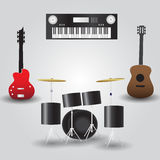 Guitars, drums and keyboard music instruments Royalty Free Stock Images
