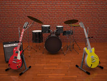 Guitars  with drums on the stage. Royalty Free Stock Images