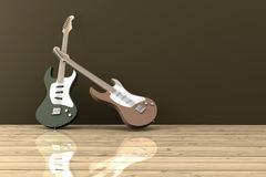 Guitars. In a empty room Royalty Free Stock Photography