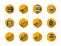 Guitars equipment round flat icons set Stock Photos