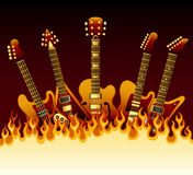 Guitars in flames. Vector illustration of guitars in flames Stock Images
