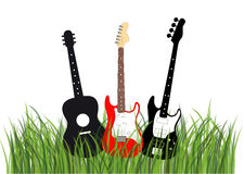 Guitars in grass Royalty Free Stock Image