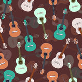 Guitars multicolored seamless pattern, musical background. Colorful drawn guitar on a purple brown . Vector illustration Stock Photo