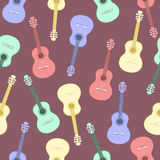 Guitars multicolored seamless pattern, musical background. Colorful drawn guitar on a purple . Vector illustration Stock Photos