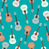 Guitars multicolored seamless pattern, musical background. Colorful drawn guitar on a turquoise . Vector illustration Royalty Free Stock Image
