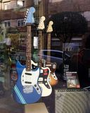 Guitars at a music store. royalty free stock photos
