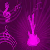 Guitars and musical notes. Purple guitars and music in colorful purple music background Stock Photo